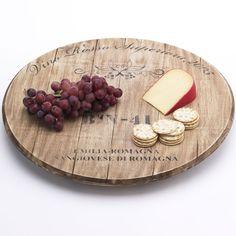 wine barrel lazy susan - what a cool idea!