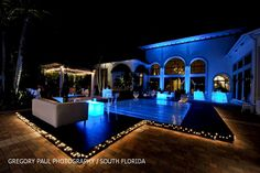 pool cover with blue lighting..check! (Jennifer J Events)