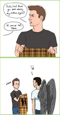 Cas wearing Dean's clothes. Just, yes.