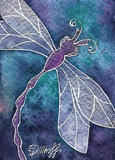 Indigo Dragonfly Original watercolor painting ACEO  by weecottage - NOT A PRINT but an actual watercolor painting.