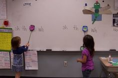 a fun game called SWAT!  All you need are fly swatters (thank you Dollar Tree).  Write vowel patterns, digraphs, blends, ... on the board and then say a word.  The students have to SWAT the sound they hear. Great idea!!