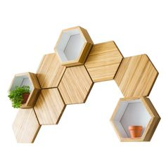 Recycled Chopsticks Are Turned Into These Honeycomb Shelves And Wall Tiles Wall Decor Set, Diy Wall, Room Decor, Wall Décor, Home Interior Design, Interior Decorating, Diy Furniture, Furniture Design, Bamboo Shelf
