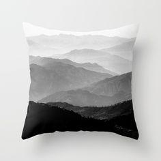 Mountain Mist - Black and White Collection Throw Pillow