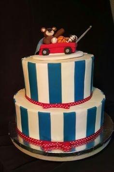 A Sweet Cake For Baby Boy Complete With Red Wagon Teddy Bear And