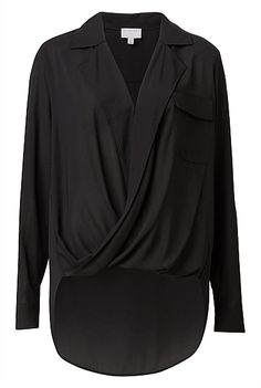 Cross Over Blouse See Through Blouse, Surplice Top, Work Fashion, Ruffle Blouse, Ruffle Top, Long Sleeve, Casual, Shirts, Clothes