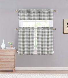 Premium Polycotton Check Kitchen Window Curtain Tier & Valance Set - Gray #DESIGNERLINENS #Contemporary
