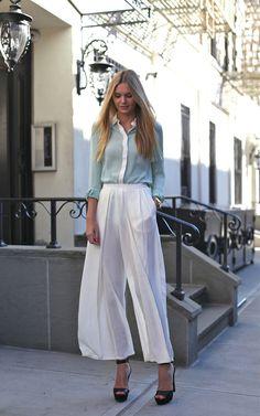 Fashion blogger Jessica Stein wearing Maurie & Eve pants, Zara shirt and heels, Michael Kors watch
