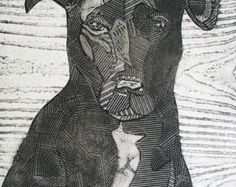 Black Labrador Retriever Mix, original black and white collograph print, dog art - Bruno 3
