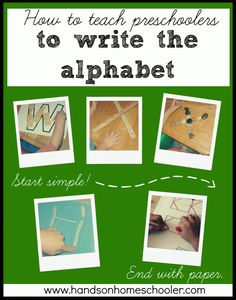 how to teach Preschoolers to write the alphabet.website has a ton of ideas for other preschool activities too Teaching Kids To Write, How To Teach Kids, Preschool Literacy, Preschool Letters, Preschool Lessons, In Kindergarten, Teach Preschool, Teaching Writing, Preschool Ideas