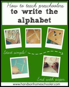 how to teach Preschoolers to write the alphabet