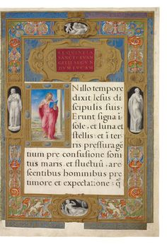 Very elaborate frame-like border, with statue figures and multi-colored designs. High Renaissance, New York Public Library, Miniatures, Statue, Frame, Books, Design, Picture Frame, Libros