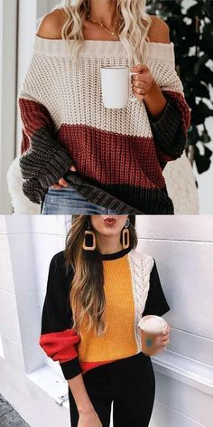 Loose Knit Sweaters, Casual Sweaters, Sweaters For Women, Knit Fashion, Sweater Fashion, Fashion Outfits, Classy Outfits, Cute Outfits, Matching Sweaters