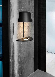 "lamp with shelf ""floating""...omg i love this! Great space saver for smaller spaces/apartments"