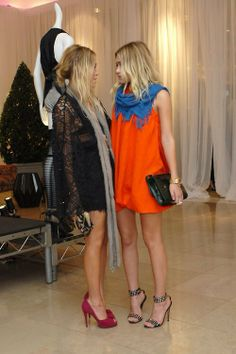 Olsen Twins. Both these outfits are perfect- the right would be great for a warm fall gameday with boots!