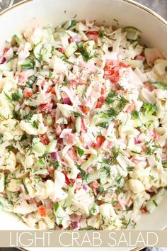 Light crab salad with a mayo dressing. Light crab salad with a mayo dressing. Crab Pasta Salad, Seafood Salad, Seafood Dishes, Seafood Recipes, Cooking Recipes, Healthy Recipes, Avocado Crab Salad, Cooking Tips, Cucumber