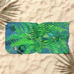 """""""Fern"""", floral art, green & blue Beach Towel by Clipso-Callipso 