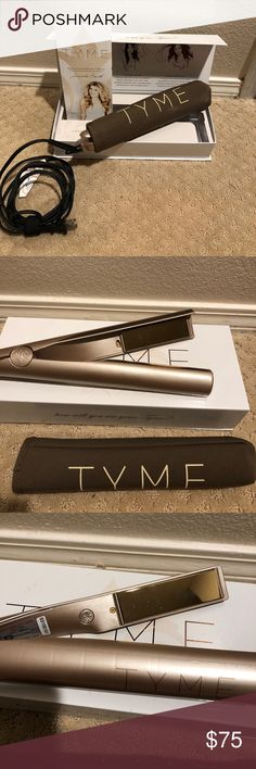Tyme flat iron Tyme flat iron will straighten or curl your hair! This thing is awesome. Works on short or long hair! I've moved on to different styles for my hair. Heats up fast and works like advertised!!! Comes in original box and has all parts! tyme Makeup Brushes & Tools