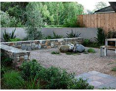 stone wall and stucco wall