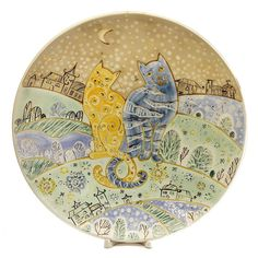 Large Decorative Ceramic Plate, $85.00, http://catalog.obitel-minsk.com/ceramics-workshop This decorative plate is made of quality ceramics, painted with ecofriendly paints using unique techniques. It is decorated with an image of two cats with nocturnal landscape in the background.http://catalog.obitel-minsk.com/ceramics-workshop