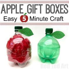 Red Ted Art's DIY Plastic Bottle Apple Gift Boxes - quick and easy to make - a great Back To School gift idea or fill with treats for the kids Small Teacher Gifts, Back To School Gifts For Teachers, Small Gifts, Gifts For Kids, Recycled Art Projects, Upcycled Crafts, Arts And Crafts Projects, Easy Gifts, Cool Gifts