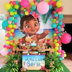 Encanto de festa com o tema Bebê Moana! Moana Birthday Decorations, Moana Birthday Party Theme, Moana Themed Party, Hawaiian Birthday, 1st Birthday Girls, 2nd Birthday Parties, Moana Backdrop, Festa Moana Baby, Baby Moana