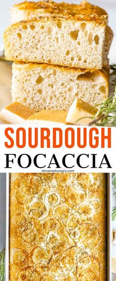 This sourdough focaccia is incredibly moist & fluffy with the perfect crust! Flavored with rosemary and parmesan for the ultimate focaccia bread! #sourdoughrecipes #focaccia #sourdoughfocaccia #sourdoughstarter #drivemehungry | drivemehungry.com Sourdough Recipes, Bread Recipes, Baking Pans, Bread Baking, Rosemary Focaccia, Tasty Bread Recipe, Dry Yeast, Parmesan, Food
