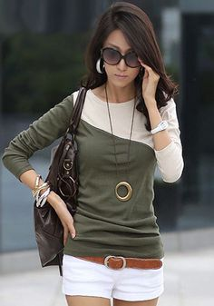 Army Green Color Block Slim T-Shirt - Tops