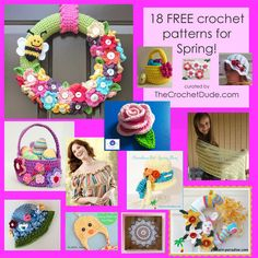 Here are 18 FREE crochet patterns for SPRING via TheCrochetDude! Click here:http://bit.ly/2nGaOnf