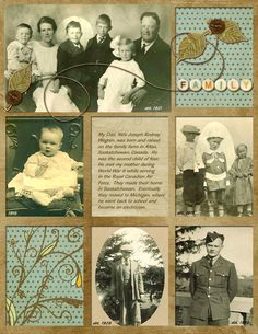 Would be great for my Grandma who loved to Quilt!a striking quilt design with simple and lovely embellishments is great for scrapping multiple photos. Really like how an individual was highlighted in the group photos. Heritage Scrapbook Pages, Vintage Scrapbook, Scrapbook Page Layouts, Scrapbook Paper Crafts, Scrapbook Supplies, Scrapbook Cards, Scrapbook Organization, Foto Quilts, Quilting Designs