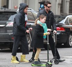 He's a dad and a big kid: Hugh Jackman took his son Oscar and daughter Ava out on their scooters in New York on Sunday Hugh Michael Jackman, Hugh Jackman, Kids Scooter, Scooter Scooter, Broadway Stage, Toronto City, Australian Actors, Family Outing, Celebrity Dads