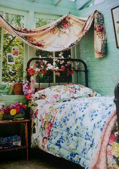 Gypsy bedroom dream rooms, dream bedroom, home bedroom, bedroom decor, flor Dream Bedroom, Home Bedroom, Bedroom Decor, Gypsy Bedroom, Floral Bedroom, Bedroom Romantic, Colourful Bedroom, Pretty Bedroom, Decor Room
