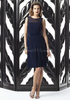 Chic Bateau Knee-length Backless Blue Bridesmaid Dress