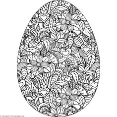 Flowers and Hearts Easter Egg Coloring Pages Easter Egg Coloring Pages, Coloring Book Pages, Coloring Pages For Kids, Free Coloring, Dibujos Zentangle Art, Printable Adult Coloring Pages, Mandala Coloring, Easter Crafts, Bunny Crafts