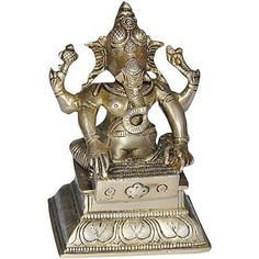 Amazon.com: India Statues and Sculptures Lord Ganesha Brass Figurines Playing Bina: Furniture & Decor