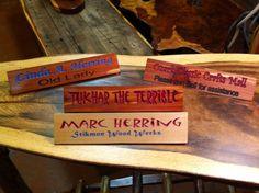 Desk Name Plates by StikmonWoodWerks on Etsy, $20.00