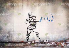 banksy | Banksy Musical Soldier Mural Wallpaper