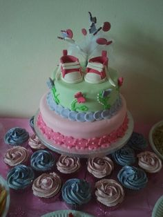 Delightful Baby Shower Cake, Love The Shoes On Top