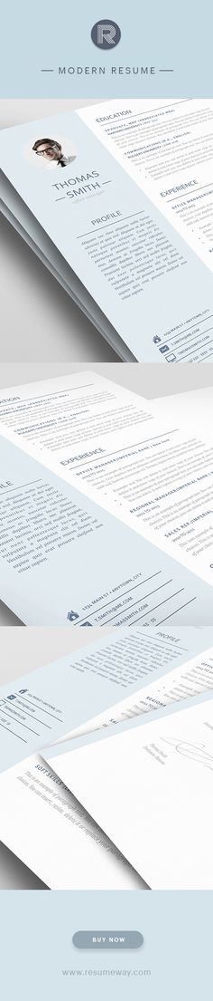 Modern Resume Template 110970 - Premium line of Resume & Cover Letter Templates. Easy edit with MS Word, Apple Pages