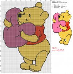 Schema punto croce Winnie the Pooh con il cuore 100x144 4 colori.jpg