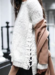 Corset trend, tie up sweater, side tie sweater