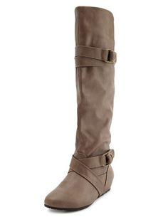 Belted Leatherette Flat Boot: Charlotte Russe
