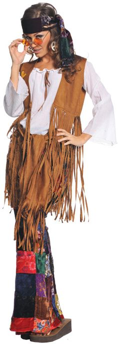 Women's Costume: Peace Out | SmallFringed faux suede vest, velvet patchwork print bell bottoms, headband. ADULT SIZE 4-6.Size: SmallAge: Adult