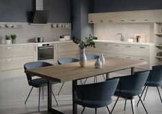 MFC is an acronym for Melamine Faced Chipboard and can be used to create modern-looking kitchens/bedroom ... with its printed wood grain on a melamine film that forms the face and edges of the chipboard. Kitchens And Bedrooms, Bespoke Kitchens, Wood Print, Hacks, Dining Table, Chipboard, Modern, Design, Furniture