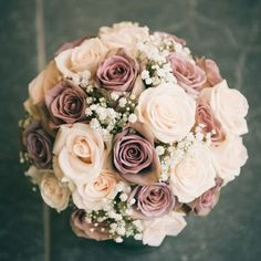 Carol - Hannah loves this bouquet. It has the amnesia roses, quicksand, and I guess white or off white. Since her dress is white, I would probably go with white. But she would also love dusty miller around the perimeter if it doesn't get too wimpy. Dusty Rose Wedding, Rose Wedding Bouquet, Floral Wedding, Elegant Wedding, Rose Bouquet, Trendy Wedding, Rustic Wedding, Gypsophila Bouquet, Rose Gold Wedding Dress