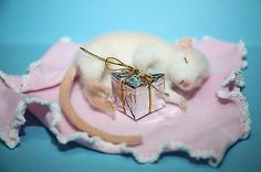OOAK Needle Felted realistic sculpture rat mouse Christmas handmade gift 8