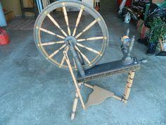 ORIGINAL  Antique Great Wheel Spinning Wheel ,  Dated 1851, Has Rosemaling?
