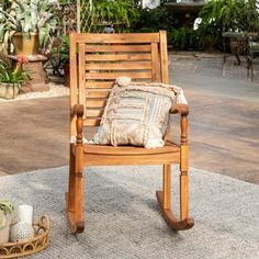 Add charm and comfort to your patio or deck by selecting this Walker Edison Boardwalk Brown Acacia Wood Outdoor Rocking Chair. Front Porch Chairs, Front Porch Furniture, Patio Chairs, Outdoor Furniture, Outdoor Decor, Industrial Furniture, Rustic Furniture, Antique Furniture, Outdoor Rocking Chairs