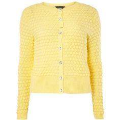 Lemon Bubble Cardigan ($37) ❤ liked on Polyvore featuring tops, cardigans, cardigan top, lemon cardigan, beige top, lemon top and dorothy perkins