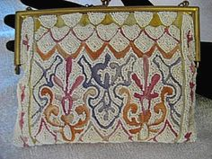 French Beaded Evening Handbag 1920 Embroidered Purse France