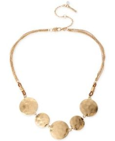 Kenneth Cole New York Gold-Tone Hammered Disc Frontal Necklace